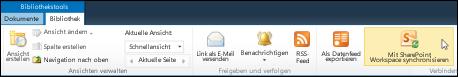 Option 'Mit SharePoint Workspace synchronisieren' auf der Registerkarte 'Bibliothek' im Menüband