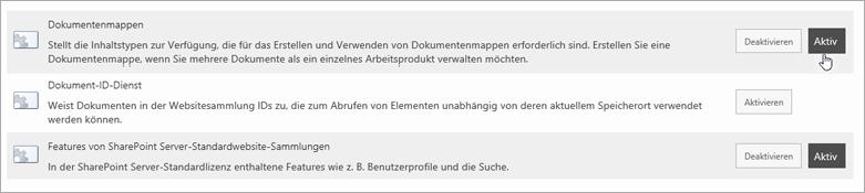 Beispiele für TheSite Websitesammlungs-Features, die Sie aktiv für SharePoint vornehmen können können
