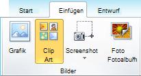 """Der Befehl ClipArt auf der Registerkarte """"Einfügen"""" des Menübands in PowerPoint 2010"""