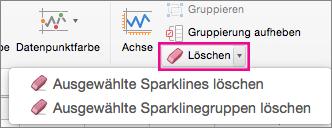 """Auf der Registerkarte """"Sparkline-Design"""" den Befehl """"Löschen"""" auswählen"""