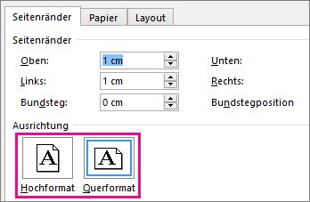 """Im Dialogfeld """"Seite einrichten"""" sind """"Hochformat"""" und """"Querformat"""" hervorgehoben."""