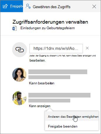 """Screenshot des Bereichs """"Freigabe"""" im Detailbereich für eine freigegebene Datei"""