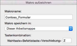 """Excel für Mac-Formular """"Makro aufzeichnen"""""""