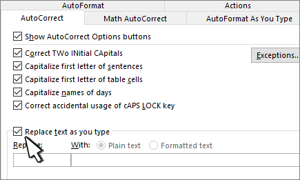 """Kontrollkästchen """"während der Eingabe ersetzen"""" auf der Registerkarte AutoKorrektur"""