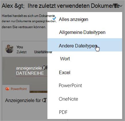 Screenshot der Seite der zuletzt verwendeten Dokumente mit geöffneter Filterliste