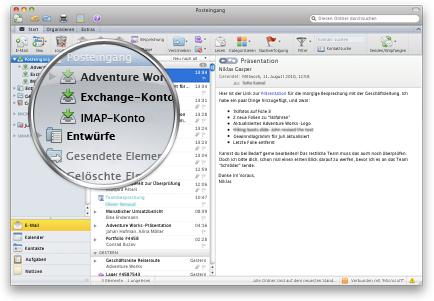 Outlook zeigt mehrere Konten in einem einzigen Posteingang an