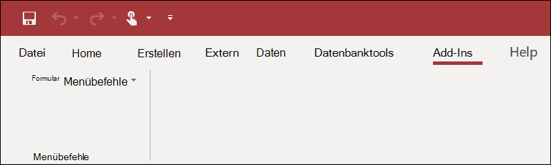 "Screenshot des Menübands ""Add-Ins"" in Access"