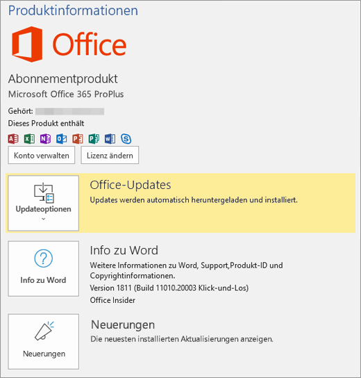 Anzeige der Backstage-Ansicht von Office 365