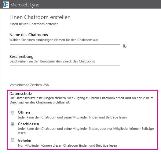 Screenshot des Fensters 'Chatroom erstellen' mit hervorgehobenen Mitgliedschaftsoptionen