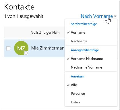 """Screenshot des zum Filtern verwendeten Dropdownmenüs auf der Seite """"Personen"""""""