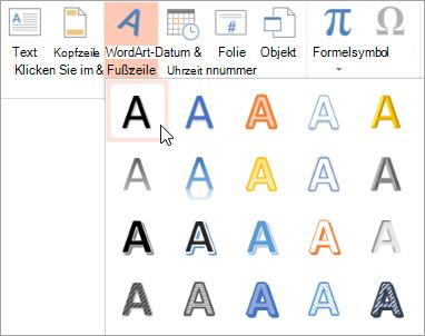 Klicken Sie auf der Registerkarte ' Einfügen ' WordArt-Format auswählen