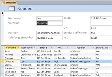 Ein geteiltes Formular in einer Access-Desktopdatenbank