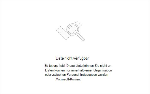 Screenshot der Fehler Meldungsliste nicht verfügbar
