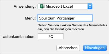Beispiel für eine benutzerdefinierte Tastenkombination in Office 2016 für Mac