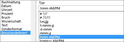 Dialogfeld ' Zellen formatieren ', benutzerdefinierter Befehl, h:mm am/pm-Typ