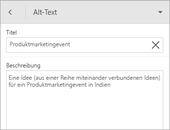 "Befehl ""Alternativtext"" auf der Registerkarte ""Form"""