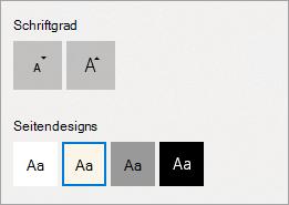 Textgröße und Seitendesigns in der Leseansicht