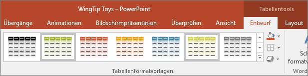 Zeigt Tabellenformatvorlagen in PowerPoint