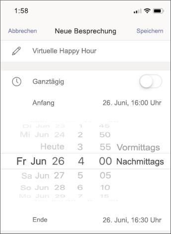 Besprechungseinstellungen – Screenshot Mobilgerät