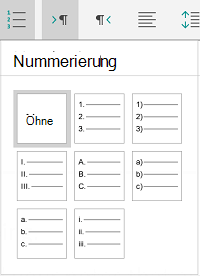 Nummerierungsoptionen