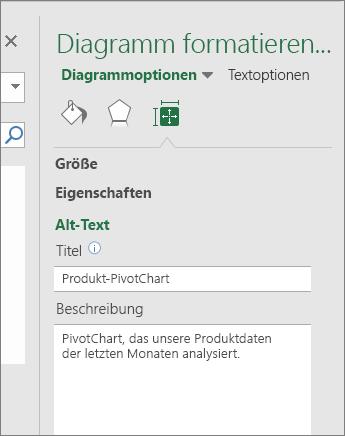 """Screenshot des Bereichs """"Alternativtext"""" im Bereich """"Diagrammbereich formatieren"""" mit Beschreibung des ausgewählten PivotChart"""