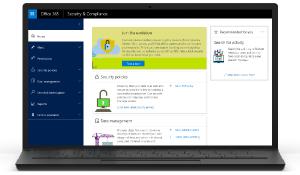 Zeigt eine Miniaturansicht der Startseite des Security & Compliance Centers.