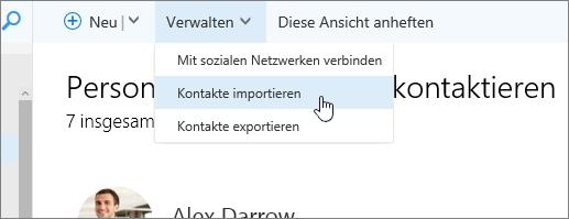 """Screenshot des Befehls """"Verwalten"""", """"Kontakte importieren"""" ausgewählt"""