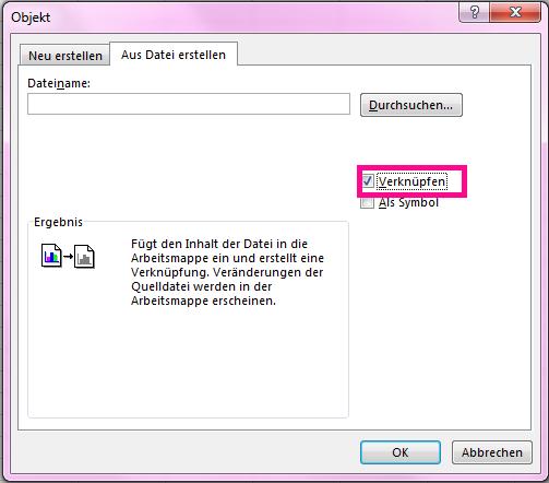 """Aktivieren Sie auf der Registerkarte """"Aus Datei erstellen"""" das Kontrollkästchen """"Mit Datei verknüpfen""""."""