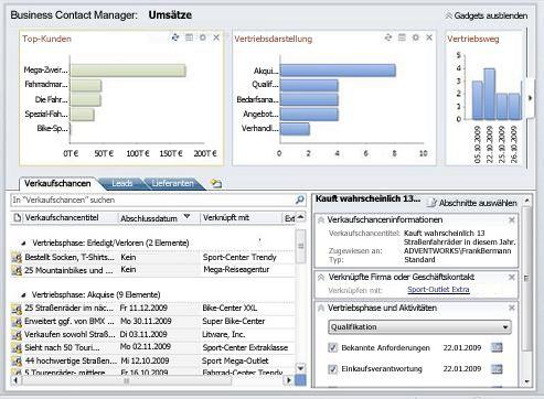 """Business Contact Manager-Arbeitsbereich """"Vertrieb"""" ohne Menüband und Navigationsbereich"""