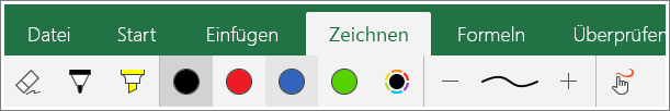 "Screenshot der Registerkarte ""Zeichnen"" in Excel Mobile für Windows 10"