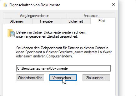 """Screenshot des Menüs """"Eigenschaften von 'Dokumente'"""" im Datei-Explorer"""