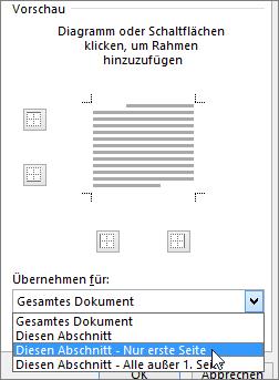 """Die Optionen """"Anwenden auf"""" im Dialogfeld """"Rahmen und Schattierungen"""""""