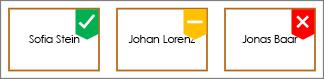 Shapes mit grünem Häkchen-Badge, gelbem Badge und rotem X-Badge