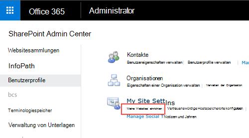 Bildschirmgrafik im Einstellungsmenü von SharePoint und Benutzerprofil hervorgehoben