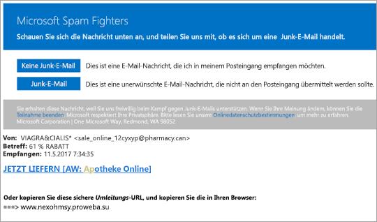 Screenshot einer e-Mail-Nachricht für Spam-Kämpfer