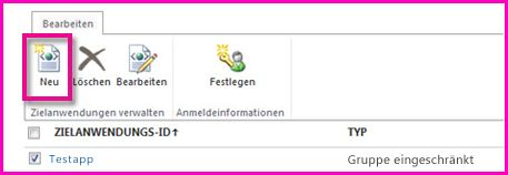 Screenshot der Seite des SharePoint Online Admin Centers zum Konfigurieren einer SecureStore-Zielanwendung