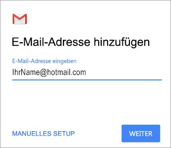 Hinzufügen Ihrer E-Mail-Adresse