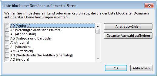 Dialogfeld 'Liste blockierter Domänen auf oberster Ebene'