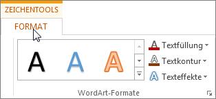 Registerkarten 'Zeichentools' und 'Format'