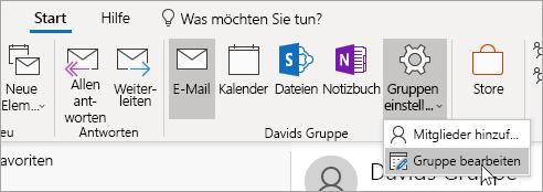 """Screenshot der Schaltfläche """"Gruppeneinstellungen"""" auf der Navigationsleiste"""