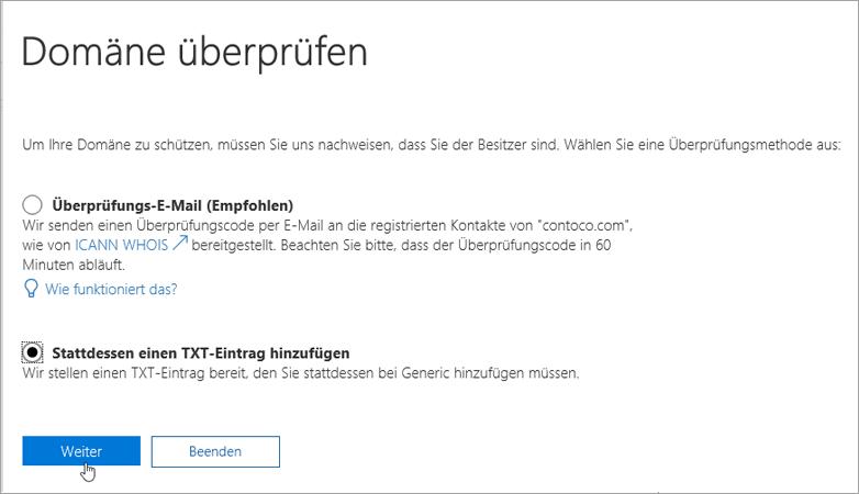 Office 365: Stattdessen Hinzufügen eines TXT-Eintrags_C3_2017526172713