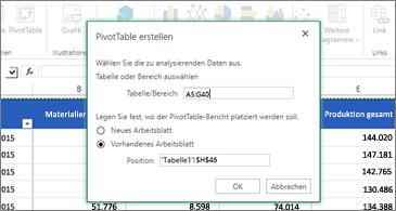 """Arbeitsblatt im Hintergrund und Dialogfeld """"PivotTable erstellen"""" im Vordergrund"""