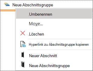 Dialogfeld zum Umbenennen einer Abschnittsgruppe in OneNote für Windows