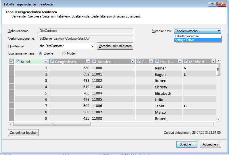 Abfrage-Editor über das Dialogfeld 'Tabelleneigenschaften' öffnen