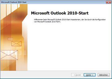 Outlook 2010-Startfenster