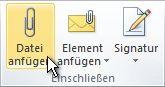 """Befehl """"Datei anfügen"""" im Menüband"""