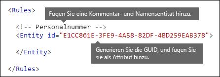 """XML-Markup mit den Elementen """"Regeln"""" und """"Entität"""""""