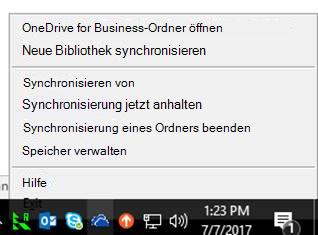 OneDrive for Business - Menü