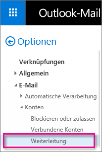 """Klicken Sie auf """"Weiterleitung""""."""