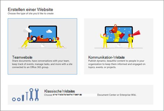 Erstellen einer Website Kommunikation, Teamwebsite oder klassische Website im Admin Center
